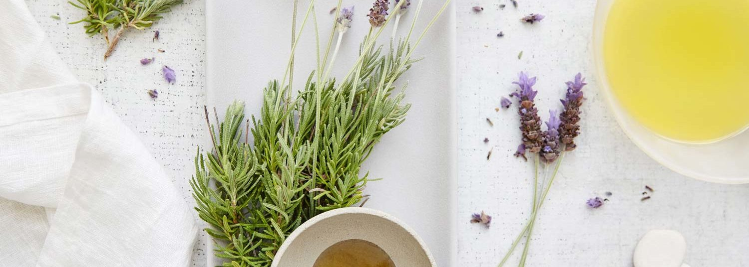 a spa treatment of oils and soaps with fresh lavendar